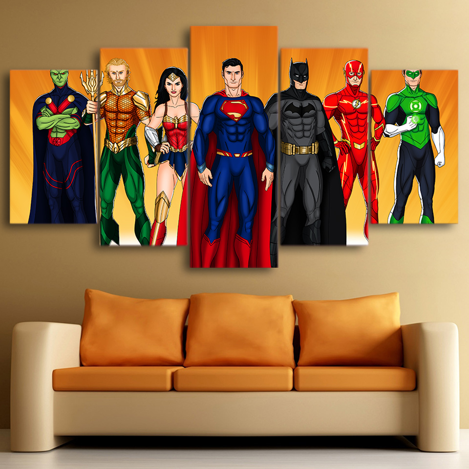 Online Shop 5 Panels Justice League Movie Painting For Living Room Cool  Cartoon Wall Posters Modern Home Decorative Canvas Modular Pictures |  Aliexpress ... Part 67