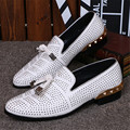 Fashion Full Rhinestone Men Casual Flat Shoes White Studded Loafers Genuine Leather Mens Wedding Dress Shoes Espadrilles Flats