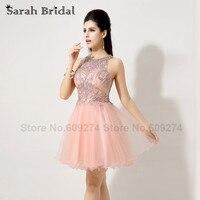 AJ035Pink Tulle Evening Dress Crystal Short 2014 Elegant Short Evening Dress Paillette Vestido De Festa Curto