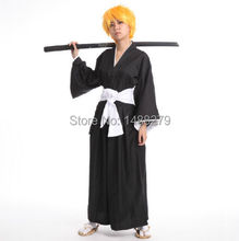 Anime Bleach Black Shinigami Death Kimono Cosplay Costume Halloween New