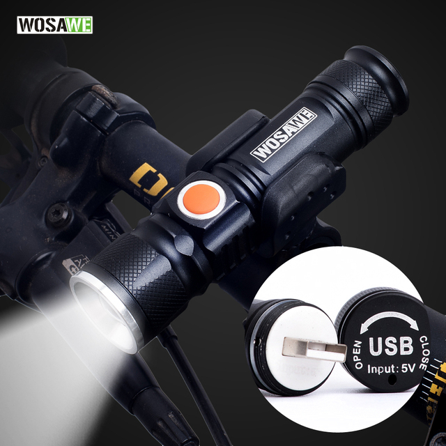 WOSAWE Fietslicht USB Oplaadbare Fiets Licht LED 800 Lumen Zaklamp Waterdicht ultra bright Flash light 18650 Batterij