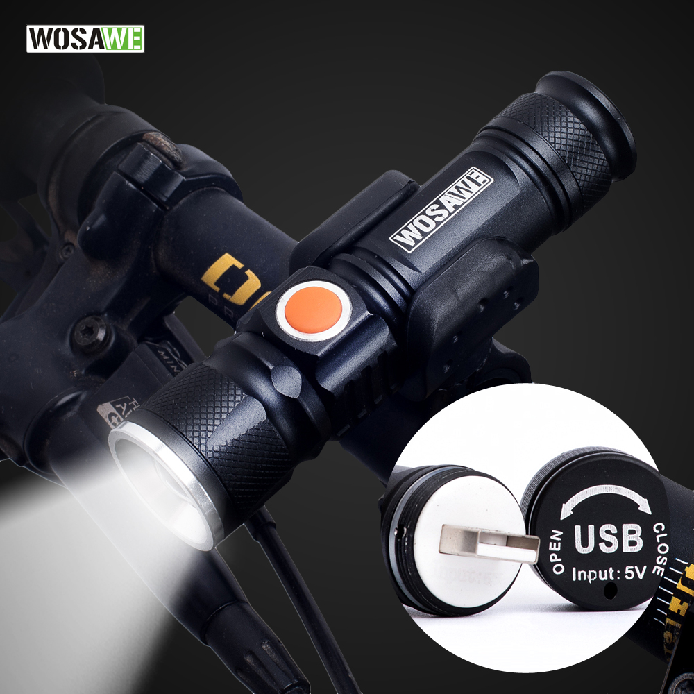 WOSAWE USB Rechargeable Bicycle Flashlight LED 800 Lumen Bike Light Zoom Waterproof ultra bright Flash light 18650 Battery