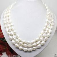 FREE SHIPPING>@@> N1489 natural 7 8mm white pearl long necklace big baroque beads 100 inches