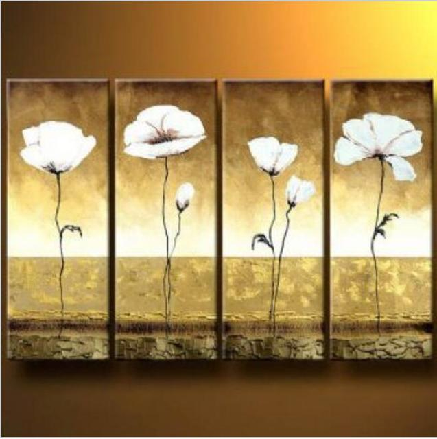 4 Pieces Hand Painted Oil Painting White Poppies I Modern Oil ...