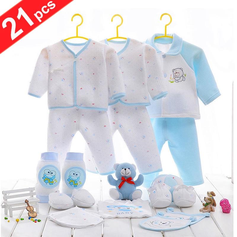 21pcs/set 100% Cotton Material New Born Baby Clothes Full Kits For Kids Cotton Material Baby Clothes Boy Girl Newborn