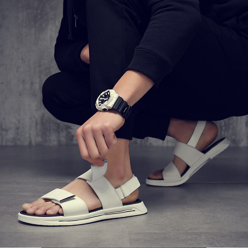 Genuine Leather Shoes Men Sandals 2019 Summer Beach Sandals Male Shoes Fashion Cow Leather Man Sandals Black White KA1234Genuine Leather Shoes Men Sandals 2019 Summer Beach Sandals Male Shoes Fashion Cow Leather Man Sandals Black White KA1234
