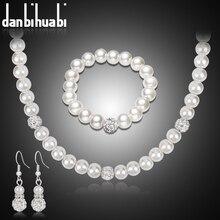 danbihuabi Necklace&Earrings&Bracelet of Imitation Pearl&Rhinestone African Fashion Costume Bridal wedding Jewelry Sets Gifts