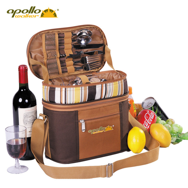 Apollo men lunch bag portable two people tableware and food refrigeration bag beer cooler bag aluminum