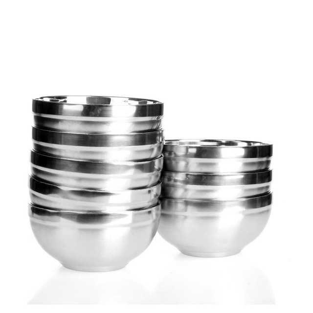 JUH A pair(2pcs) of 18cm stainless steel bowl double layer insulated bowl child anti-hot insulation bowl soup bowl set