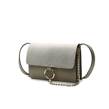 Famous brand european style chain nubuck leather flap bag panelled messenger bag shoulder pouch women pu leather metal ring