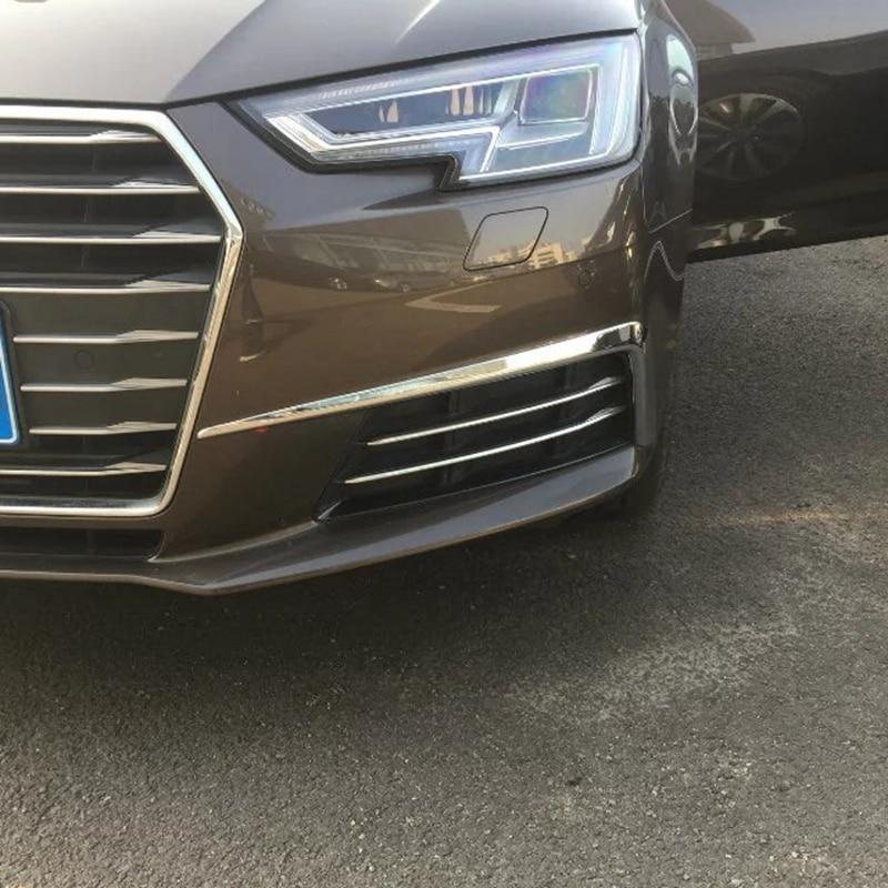 Car Styling For Audi A4 Sedan B9/9L 2016 2017 New ABS Chrome Exterior Front Foglight Eyelid Fog Light Eyebrow Lamp Cover Trims 2015 new driver side lh fog light foglight lamp assembly bulb for audi a4 b9 8k0941699b