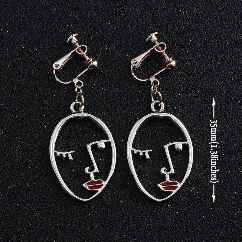 Abstrak Seni Wajah Anting-Anting Tidak Ada Lubang Telinga Klip Emas Warna Wajah Tindik Anting-Anting Klip Tanpa Logam Laporan Anting-Anting Perhiasan CE 122