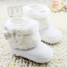 Baby Girls Warm Snow Boots Winter NWT Infant Solid Bowknot Shoes Prewalker 0-18M Baby