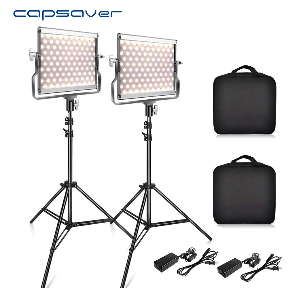 capsaver <font><b>L4500</b></font> 2 Sets Photography Lighting with Tripod LED Video Light for Studio YouTube Photo Lamp Bi-color 3200K-5600K CRI 95 image