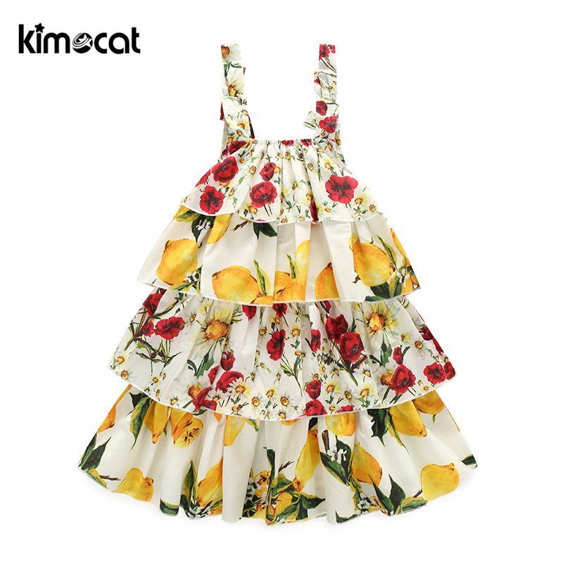 Kimocat Baby Girls Dress Summer Beach Style Floral Lemon fruit Print Backless Layered Dress Cute Sleeveless Kids Girls