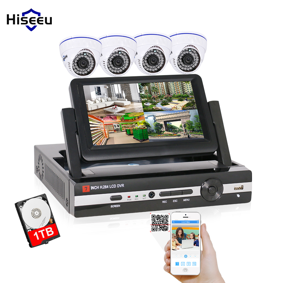 4CH CCTV System 1T HDD AHD 960P DVR HDMI IR Dome indoor CCTV Camera Home Security System Surveillance Kit 7inch displayer Hiseeu