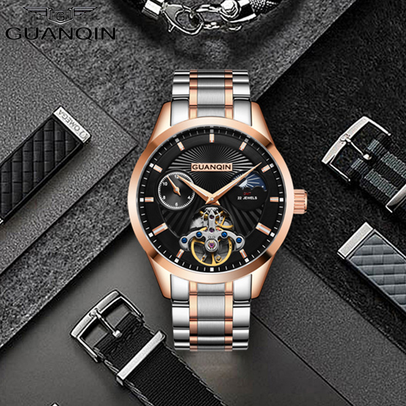 Relogio Masculino GUANQIN Mens Watch Top Brand Luxury Tourbillon Automatic Mechanical Watch Men gold Skeleton Wristwatch rosdn luxury men gold watches famous brand men s automatic mechanical watch mans gold skeleton mechanical wristwatch