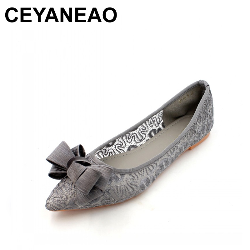CEYANEAO 2018 Women Ballet Flats Shoes Slip-On Mesh Single Shoes Sexy Lace Ladies Females Footwear Zapatos Mujer Plus Size