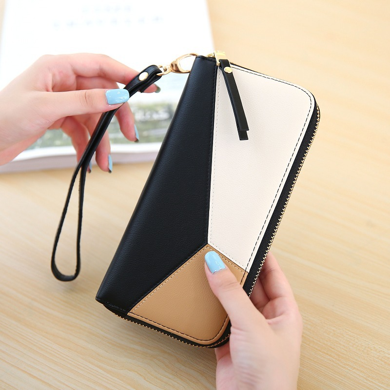 DUDINI Long Women Mobile Phone Wallets 3 Colors Stitching Zipper Money Purse Fashion Simple Ladies Coin Wallet Card Holder Bag simple organizer wallet women long design thin purse female coin keeper card holder phone pocket money bag bolsas portefeuille