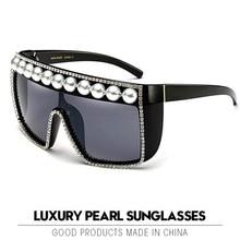Luxury Pearl Sunglasses Women 2019 Vintage Square Gothic Large Frame Wa