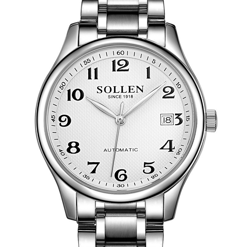 Relogio Masculino SOLLEN brand leather watches Men 's Automatic Mechanical Watch Leisure Waterproof Steel Strap men wristwatches brand fashion diamond business men s table automatic steel mechanical watch hollow wristwatches relogio masculino