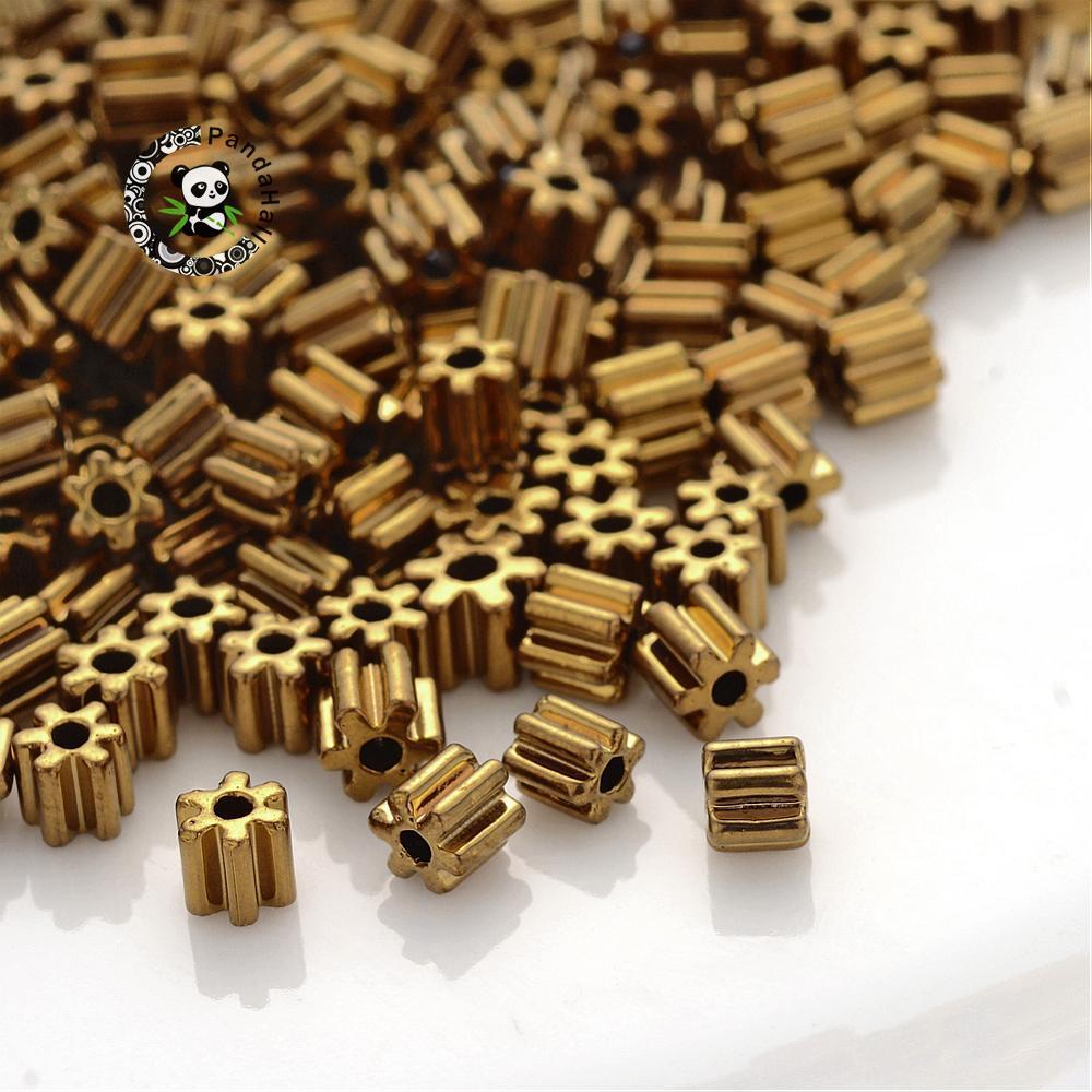 500g fleur forme verre graine bijoux faisant de petites perles en vrac, plaqué or, 3.5x3.5 ~ 4mm, trou: 1mm