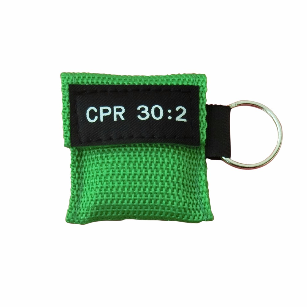 Wholesale 850Pcs Portable CPR Mask First Aid Face Shield One-way Valve With Keychain Green Pouch For Emergency Rescue Hot Sale 180pcs pack cpr mask cpr face shield with one way valve keychain keyring mask for emergency rescue first aid survival kits