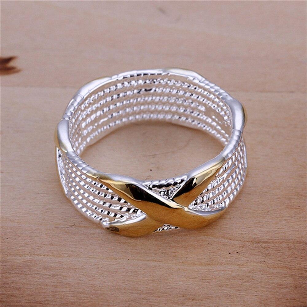 Großhandelspreis Versilberter Herrenring mit Goldfarbe X Kreuzform - Modeschmuck - Foto 6