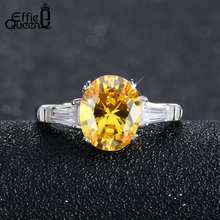Effie Queen New Trendy Luxury Austrian Zircon Engagement Ring Platinum Plated Wedding Rings for Women DR51