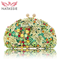 NATASSIE Women Crystal Bag Ladies Wedding Evening Clutches Bags Female Socialite Style Party Purses Gold Army Green