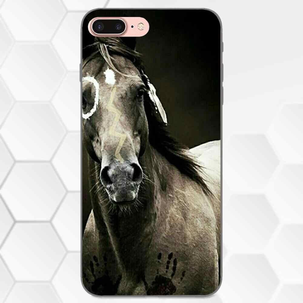 TPU Caso de Impressão Para Samsung Galaxy Note 4 8 9 G313 S3 S4 S5 S6 S7 S8 S9 S10 Borda além de Lite I9080 Incrível Cavalo Animal Print