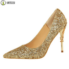 2019 Luxury Brand Fashion Metal Womens High Heels Shallow Wedding Solid Bling Pointed Toe Women Pumps Super Elegant Party