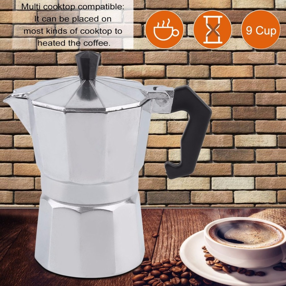 6/9/12 Cups Mocha Coffee Maker Eight-Angled Cafetiere Aluminum Coffee Percolator Home Office Moka Pot Durable Espresso Maker