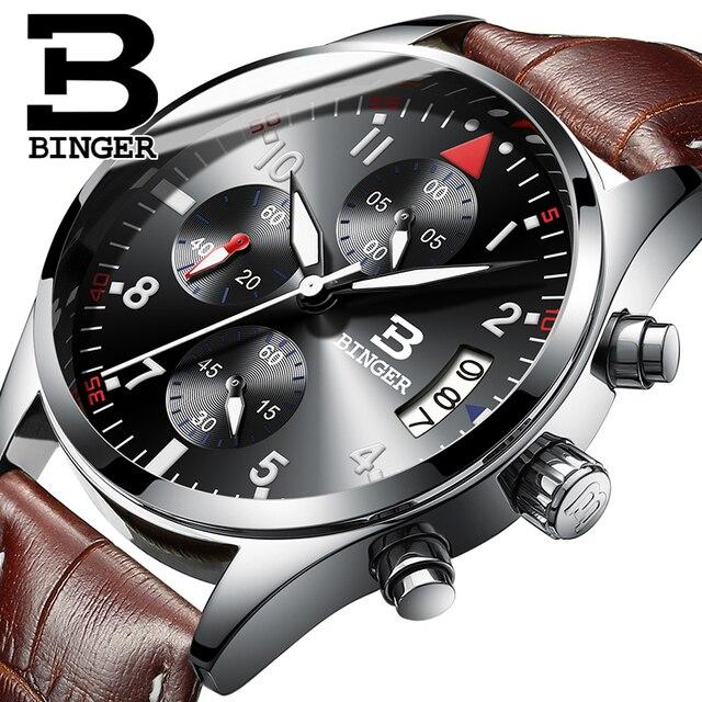406e0ac903b0 BINGER Marca Sport Reloj de Los Hombres de Primeras Marcas de Lujo de Cuero  Masculino Impermeable