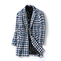 New Designs Men Clothing Long Style Men's Trench Coat Fashion Mens Open Stitch Casual Houndstooth Plaid Manteau Coats Male 5XL