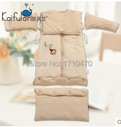 2015 new style Natural colored cotton growth baby thick sleeping bag anti kicking for autumn and winter