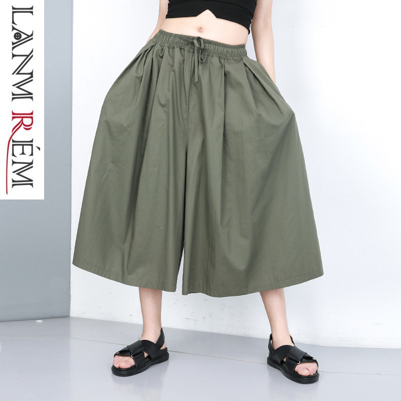 LANMREM 2019 New Summer Fashion Women Clothes High Waist Elastic   Wide     Legs     Pants   Female Loose Trousers WG33401