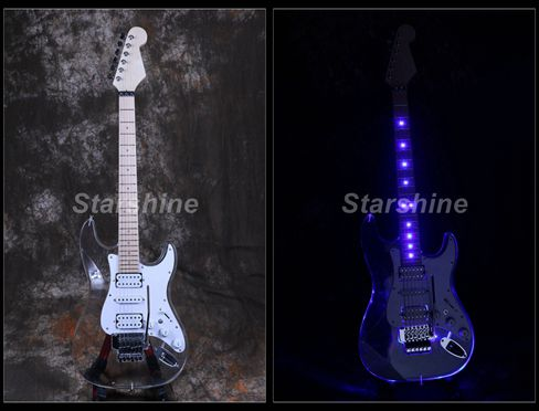Starshine LED Light Electric Guitar DK LD85 Floyd Rose Bridge H S H Pickups Acrylic Body Crystal Guitar