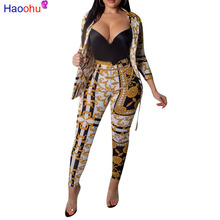 2018 Sexy 2 Piece Set Women Long Cardigan Tops+slim Leg Pant