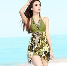 2017 Fashion  One-piece skirt women Hot spring Small chest gather Conservative suit Plus 5XL