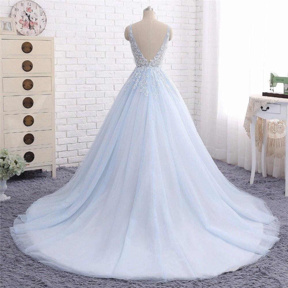518576a336c Baby Blue Wedding Dresses Vestido de Noiva 2017 A Line V Neck Lace Appliques  Tulle Bridal Gown Robe de Mariee-in Wedding Dresses from Weddings   Events  on ...