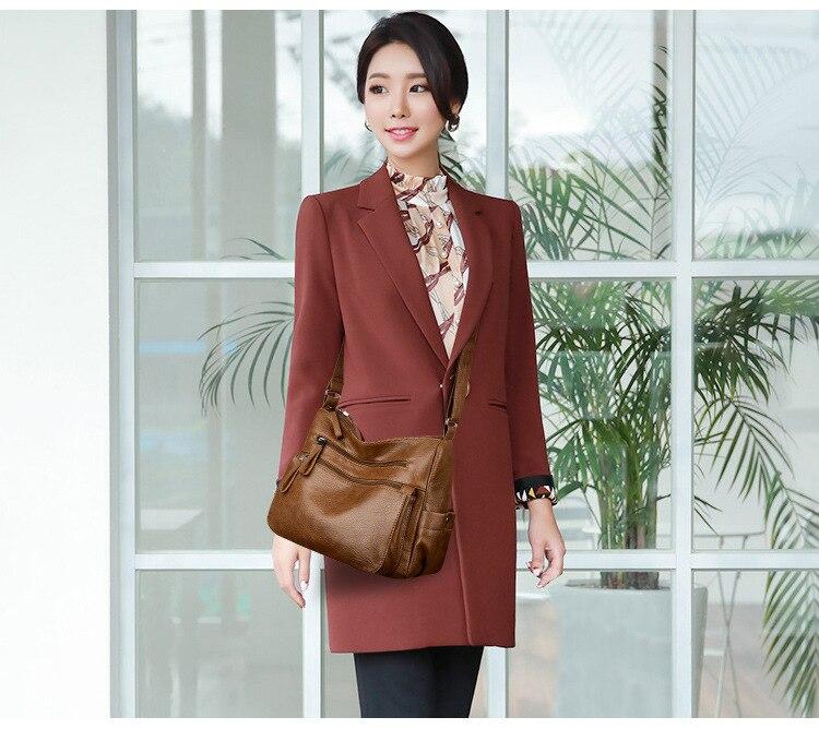 Moda sólida bolsa feminina de couro macio
