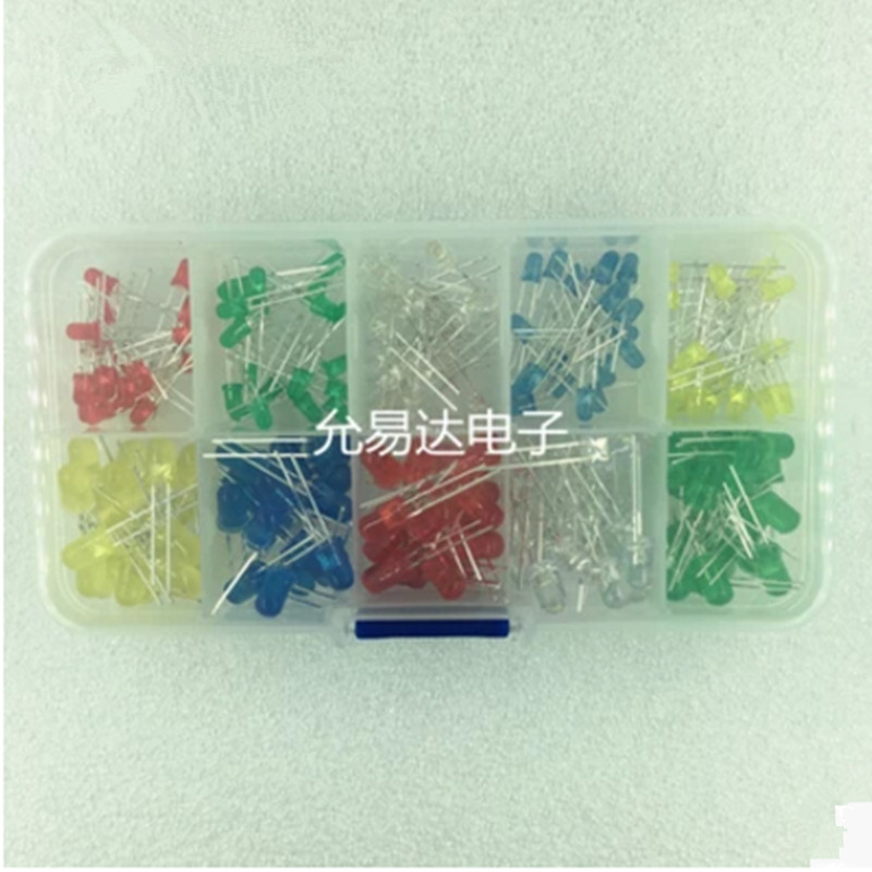 10values X20pcs=200pcs F3 F5 LED Light-emitting diode Red Yellow Blue Green White  17mm long(China)