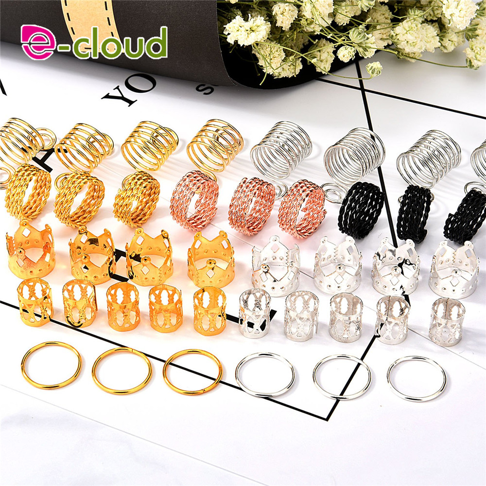 130pcs/lot Metal Hair Rings Cuffs Hair Braiding Beads Aluminum Dreadlocks Hair Decoration Accessories with Storage Box
