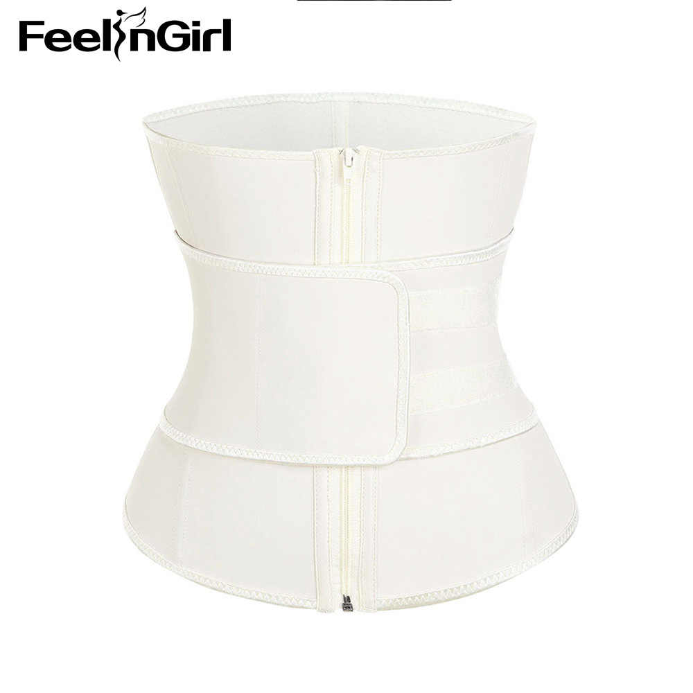 cae547ccf5e ... FeelinGirl High Compression Zipper Latex Waist Trainer Belt Plus Size  Slimming Waist Cincher Girdle Firm Control