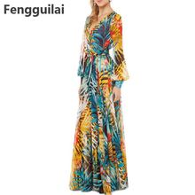 Lantern Sleeve Beach Dress 2018 Summer Vintage Chiffon Maxi Dresses Robe V Neck Floral Bohemian Boho Dress Long Dress