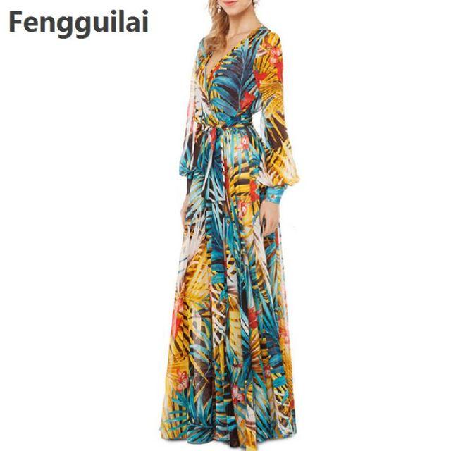 d93aac6afb88c7 Laterne Hülse Strand Kleid 2018 Sommer Vintage Chiffon Maxi Kleider Robe V  Neck Floral Bohemian Boho Lange