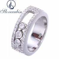 Vintage Fine Jewelry Accessories Real 100 925 Sterling Silver Round Wedding Ring With Clear CZ Move