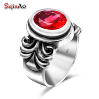 Szjinao 925 Sterling Silver Wedding Rings for Women Oval Red Gemstones Ruby Thai Silver Rings Fine Jewelry Love Gifts Wholesale