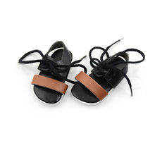 1Pair Leather Black Sandals Summer For Doll Accessories Baby Gifts Doll Sandals Doll Shoes 18 Inch Doll(China)